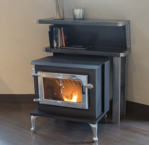 Heat Tech GMI 26PS Pellet Stove with custom metal mantel by Mikey Burke Metal Works